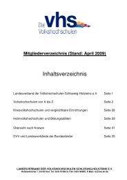 Volkshochschulen in Schleswig-Holstein - Landesverband der ...
