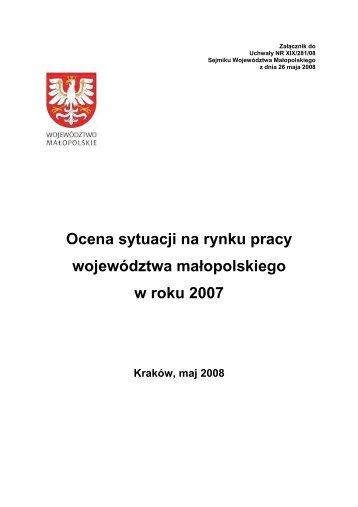 Ocena sytuacji na rynku pracy województwa małopolskiego w roku ...