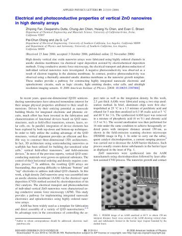 Electrical and photoconductive properties of vertical ZnO nanowires ...