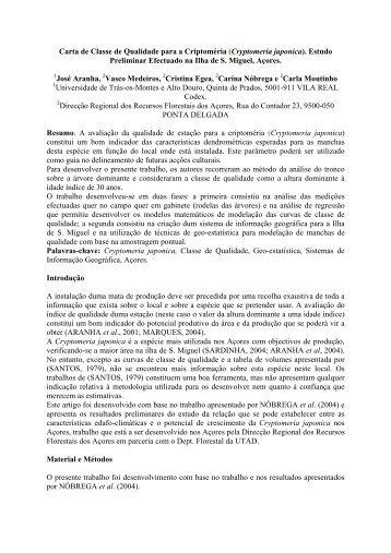 (Cryptomeria japonica). Estudo Preliminar Efectuado na Ilha ... - ESAC