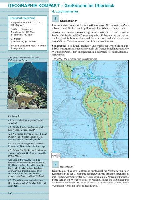 Stumme Karte Lateinamerika.Geographie Kompakt Grossraume Im Uberblick