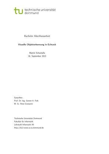 Visuelle Objekterkennung in Echtzeit - Pattern Recognition - TU ...
