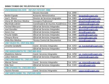 DIRECTORIO DE TELÉFONO DE UNE UNIVERSIDAD DEL ESTE ...