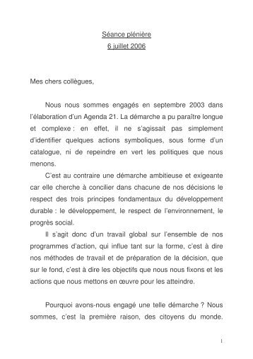 Intervention de Pierre Maille le 6 juillet 2006 vote de l'agenda 21 ...