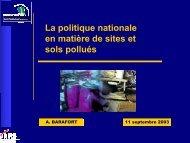 La politique nationale en matière de sites et sols pollués