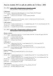 Récapitulation 2012 des résultats en salle - Club Athlétique de Sierre