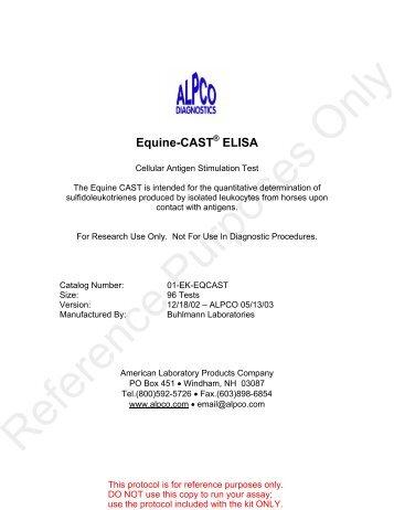 Equine-CAST ELISA - ALPCO Diagnostics