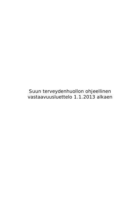 Suun terveydenhuollon vastaavuusluettelo 2013 - Kunnat.net