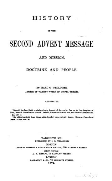 History of the Second Advent Message and Mission, Doctrine and ...