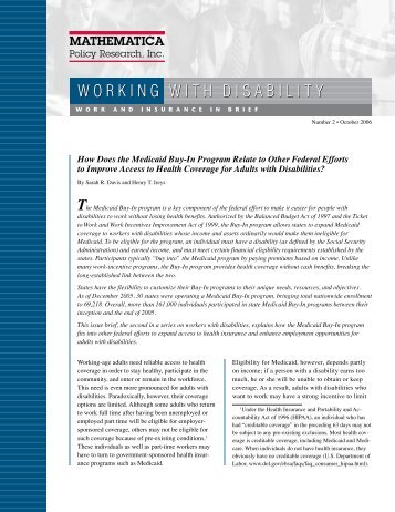 How Does the Medicaid Buy-In Program Relate to Other Federal ...