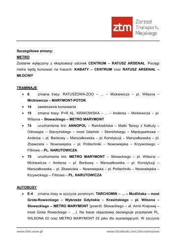Informacja ZTM - wyłączenie ruchu na I linii metra - Warszawa