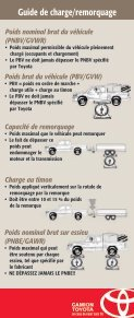 Guide de charge/remorquage Guide de charge ... - Toyota Canada - Page 6