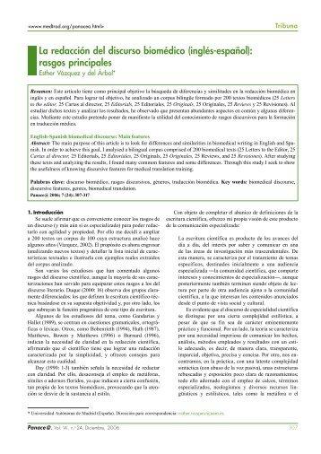 La redacción del discurso biomédico (inglés-español): rasgos ...