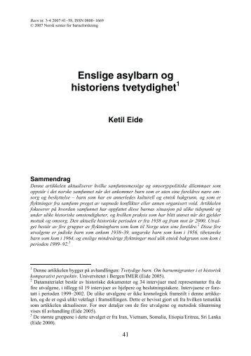 Enslige asylbarn og historiens tvetydighet - NTNU