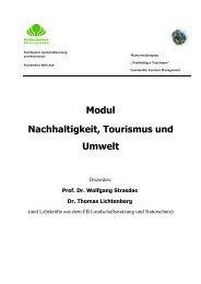 Modul Nachhaltigkeit, Tourismus und Umwelt - Hochschule für ...