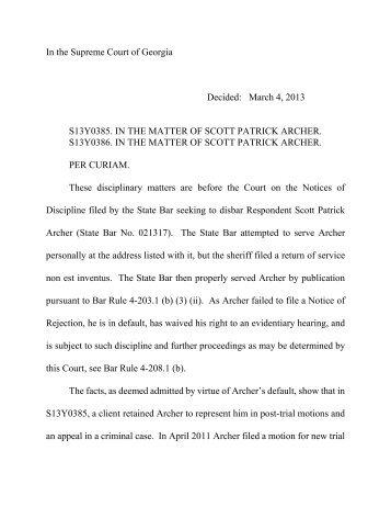 Scott Patrick Archer - State Bar Of Georgia
