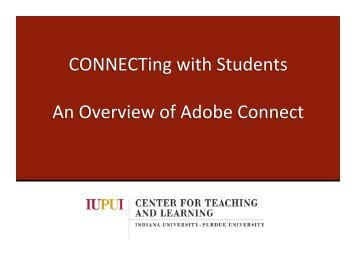 CONNECTing with Students: Using Adobe Connect for the ...