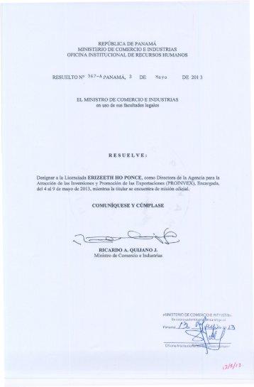 Resuelto No.350 de 6 de mayo de 2013 Licenciada MARÍA DE ...