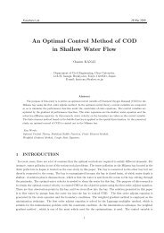 An Optimal Control Method of COD in Shallow Water Flow