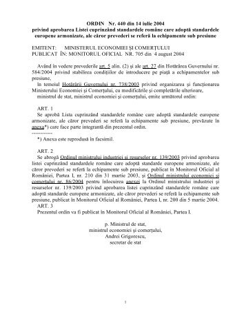 ORDIN Nr. 440 din 14 iulie 2004 privind aprobarea Listei ... - IGSU