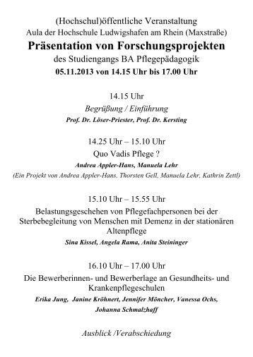 Präsentation von Forschungsprojekten - Hochschule Ludwigshafen ...