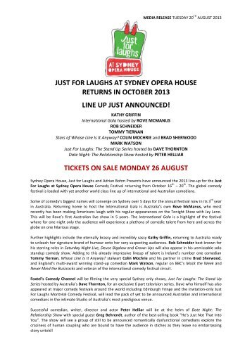 just for laughs at sydney opera house returns in october 2013 line ...