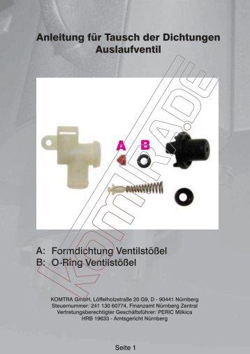 Anleitung für Tausch der Dichtungen Auslaufventil - KOMTRA GmbH