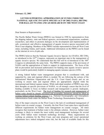 Letter Supporting Appropriation of Funds Under the National Aquatic ...
