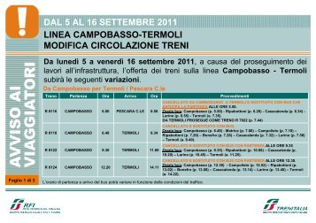 DAL 5 AL 16 SETTEMBRE 2011 LINEA CAMPOBASSO ... - Trenitalia
