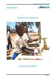 Tanzania CP Annual Report - WaterAid