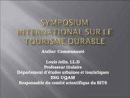Symposium international sur le tourisme durable - Tourisme Québec