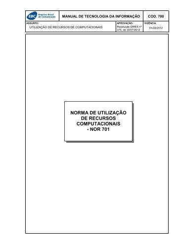 norma de utilização de recursos computacionais - nor 701 - EBC