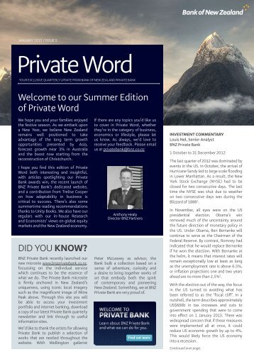 Private Word - BNZ Private Bank