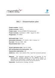 D8.2 – Dissemination plan - Memfis