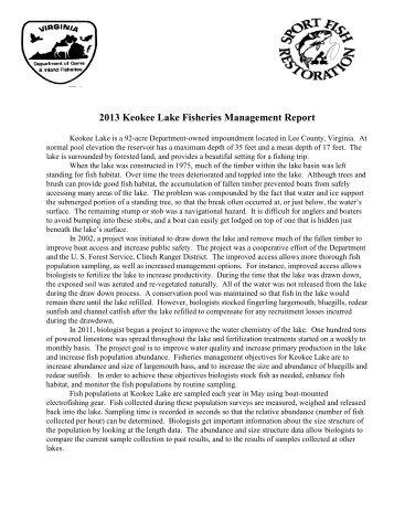 Keokee Lake Bio Rpt 2013 - Virginia Department of Game and ...