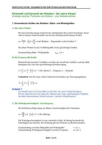 Kinematik und Dynamik der Rotation - Der starre Körper