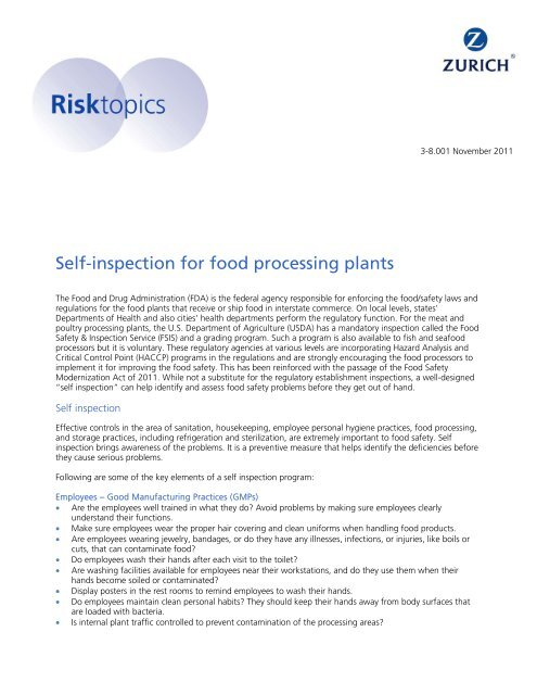 Self-inspection for food processing plants - Risk Engineering