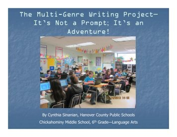 The Multi-Genre Writing Project— It's Not a Prompt; It's an Adventure!