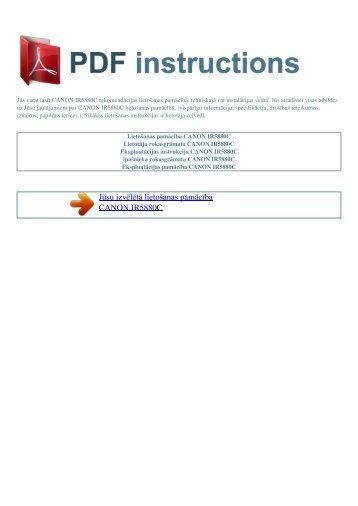 Lietošanas pamācība CANON IR5880C - PDF INSTRUCTIONS