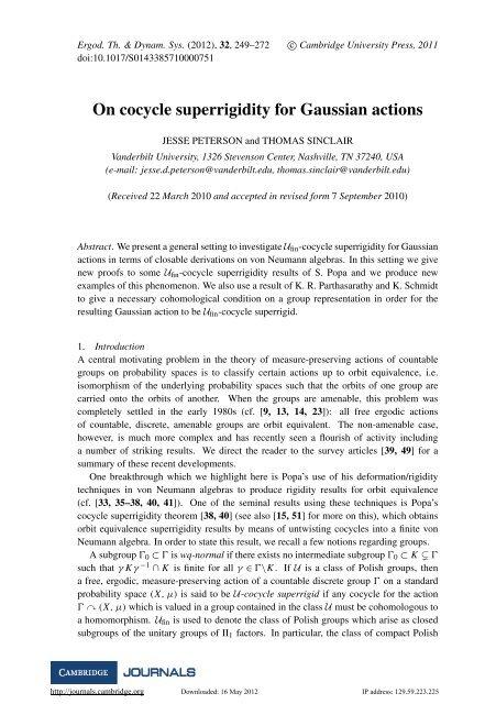 On cocycle superrigidity for Gaussian actions - Vanderbilt
