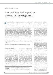 Primäre klinische Endpunkte: Es sollte nur ... - Zahnheilkunde.de