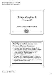 Lingua Inglese 3 LLS - LECTURE 13 (24/04/2012) (pdf, it, 128 KB, 4 ...