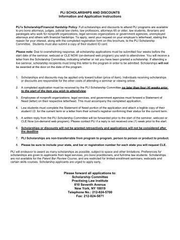 Scholarship Application - Practising Law Institute