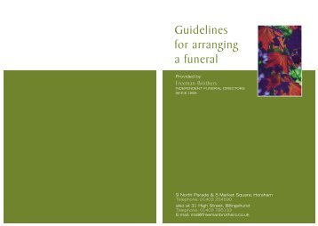Guidelines for Arranging a Funeral Booklet - Freeman Brothers