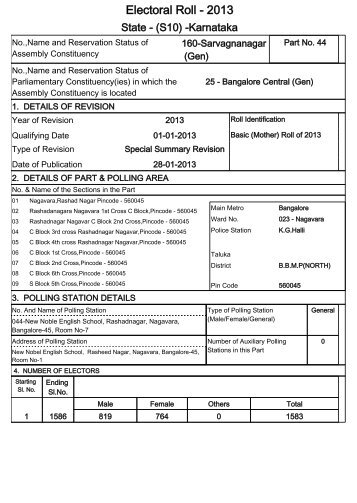 Electoral Roll - 2013 - Office of the Chief Electoral Officer