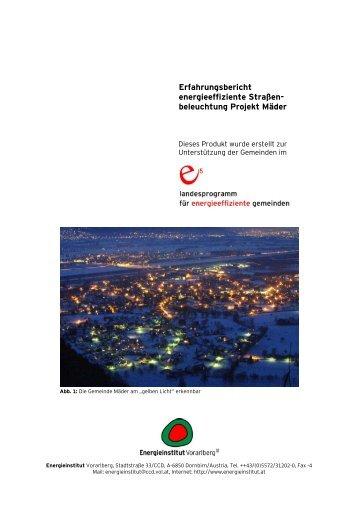 Leitfaden Erfahrungsbericht Straßenbeleuchtung Projekt Mäder