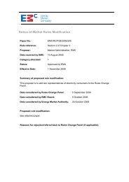 Notice of Market Rules Modification - EMC