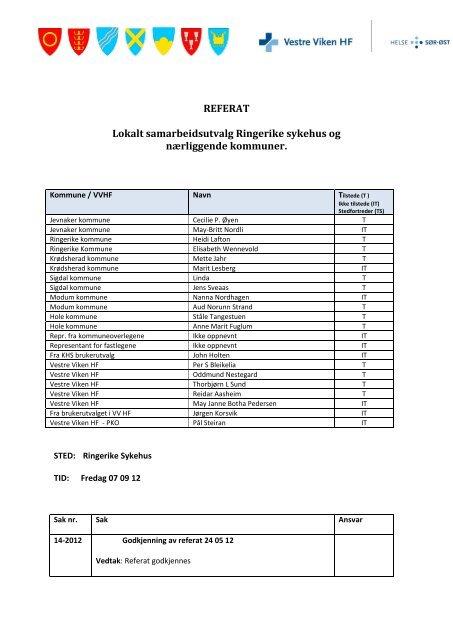 Ringerike -07 09 2 012 Referat LSU-Ring - Vestre Viken HF