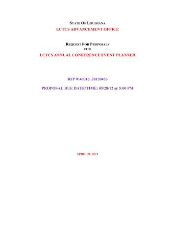 40016 20120426 LCTCS Annual Conference RFP - Louisiana ...