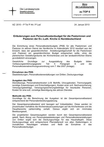 zu TOP 6 Erläuterungen zum Personalkostenbudget für ... - Nordkirche